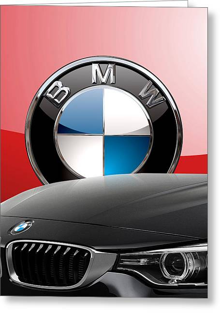 Black B M W - Front Grill Ornament And 3 D Badge On Red Greeting Card
