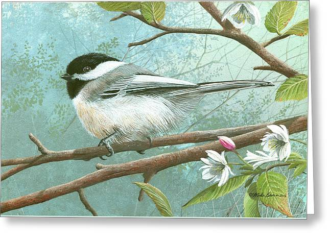 Black Cap Chickadee Greeting Card by Mike Brown