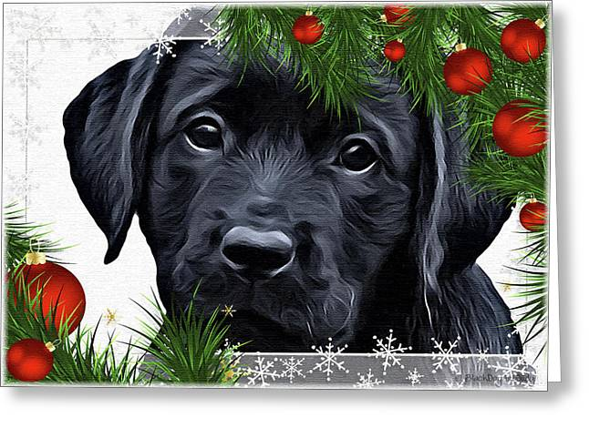 Black lab puppy greeting cards page 5 of 11 fine art america black lab holiday greetings greeting card m4hsunfo