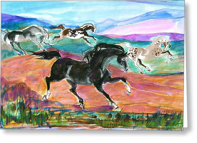 Greeting Card featuring the painting Black Pony by Mary Armstrong