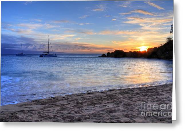 Beach Landscape Greeting Cards - Black Rock Sunset Greeting Card by Kelly Wade