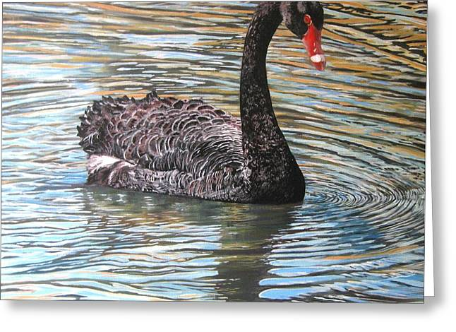 Black Swan On Water Greeting Card by Leonie Bell