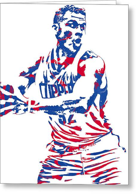 Blake Griffin Los Angeles Clippers Pixel Art 4 Greeting Card by Joe Hamilton