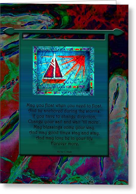 Serenity Tapestries - Textiles Greeting Cards - Blessings 2 Greeting Card by Sue Duda