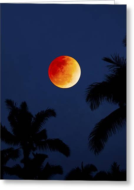 Blood Moon In Hawaii  - Triptych   Part 1of 3 Greeting Card by Sean Davey
