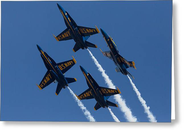 Blue Angels Break Greeting Card by John Daly