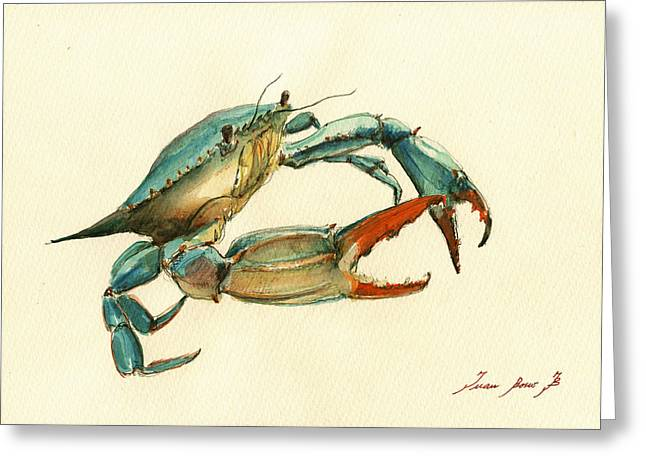 Blue Crab Painting Greeting Card