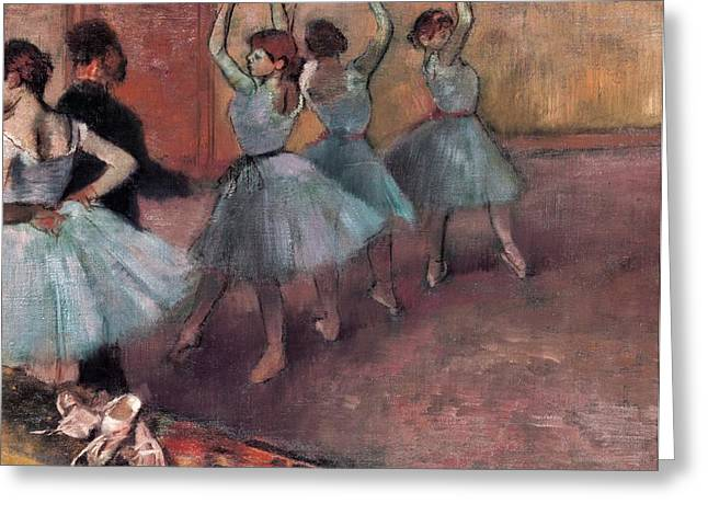 Practicing Greeting Cards - Blue Dancers Greeting Card by Edgar Degas