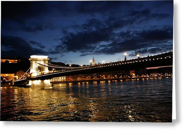 Blue Danube Sunset Budapest Greeting Card