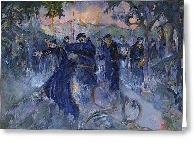 Blue Devil Alpine Gothic Greeting Card