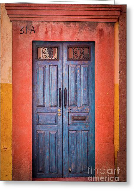 Blue Door Greeting Card by Inge Johnsson