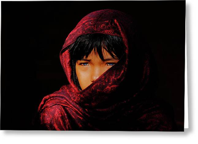 Blue Eyes Greeting Card by Okan YILMAZ