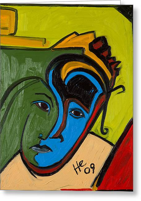 Blue Face 24x18 Greeting Card