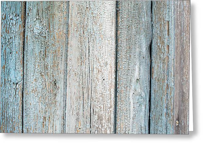 Blue Fading Paint On Wood Greeting Card by John Williams