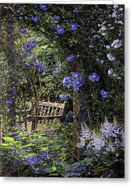 Secret Gardens Greeting Cards - Blue Garden Respite Greeting Card by Doug Kreuger