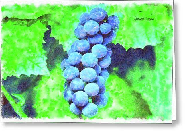 Blue Grapes - Watercolor Over Paper Greeting Card by Leonardo Digenio