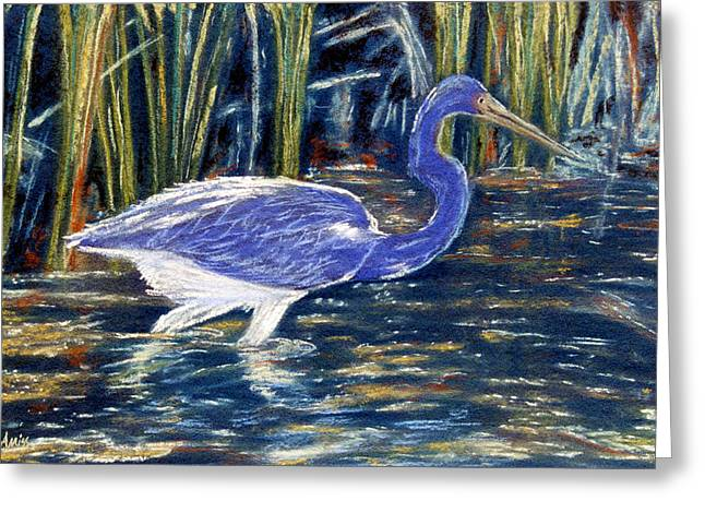 Greeting Card featuring the pastel Blue Heron by Jan Amiss