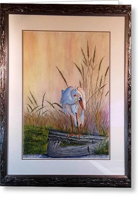 Blue Heron On A Log  Greeting Card by Richard Benson
