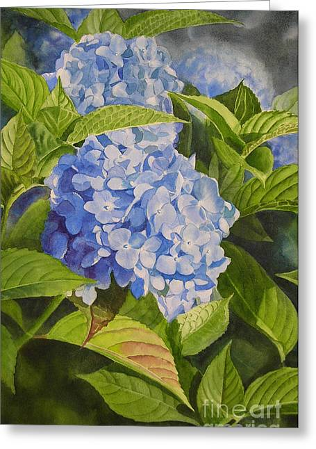 """""""blue Floral"""" Greeting Cards - Blue Hydrangea Greeting Card by Sharon Freeman"""