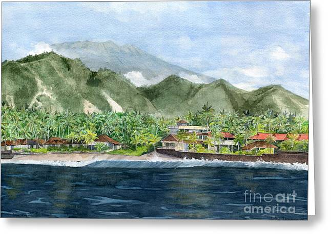Greeting Card featuring the painting Blue Lagoon Bali Indonesia by Melly Terpening