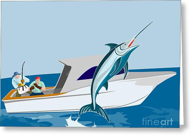 Blue Marlin Jumping Greeting Card by Aloysius Patrimonio