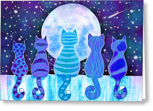 Blue Moon Cats Greeting Card