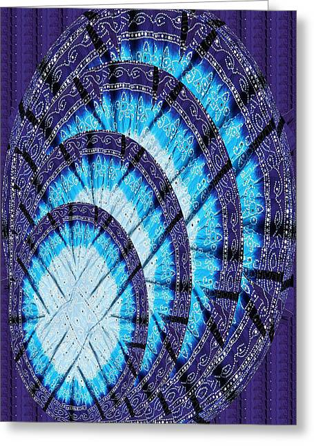 Blue Moon Shine Chandelier Created Out Of Ethnic Jaipur Fashion Fabric Cotton Vegitable Color Printe Greeting Card by Navin Joshi