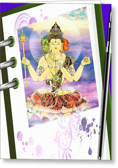 Blue-neck Kuan Yin Greeting Card by Lanjee Chee