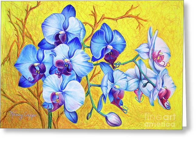 Greeting Card featuring the painting Blue Orchids #2 by Nancy Cupp
