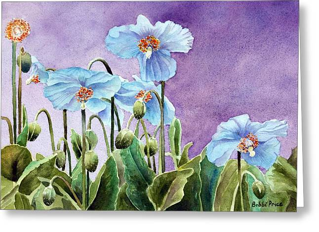 Blue Poppies Greeting Card by Bobbi Price