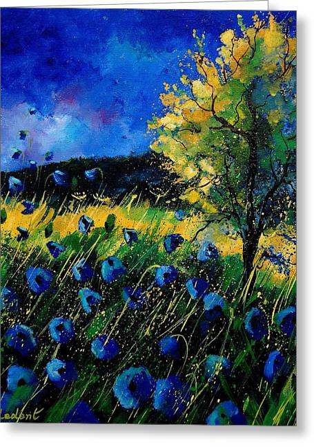 Blue Poppies  Greeting Card by Pol Ledent