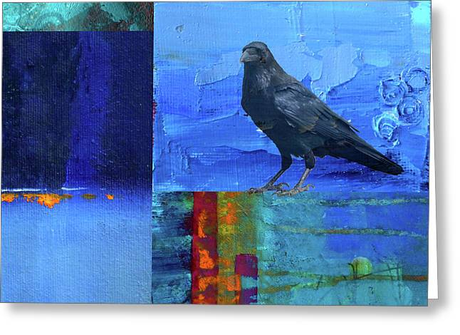 Greeting Card featuring the digital art Blue Raven by Nancy Merkle