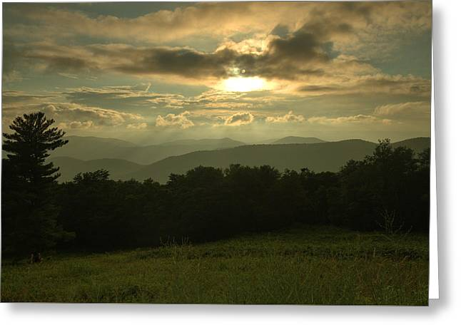 Greeting Card featuring the photograph Blue Ridge Mountain Sunset by Stephen  Vecchiotti