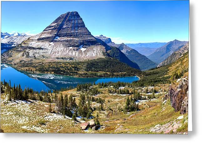 Blue Skies Over Hidden Lake Panorama Greeting Card