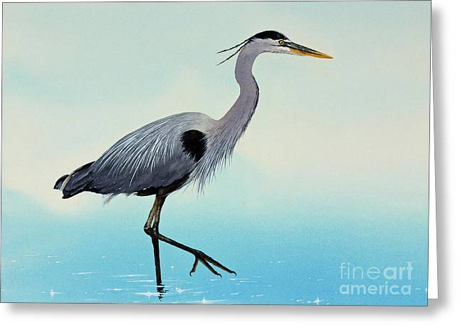 Greeting Card featuring the painting Blue Water Heron by James Williamson