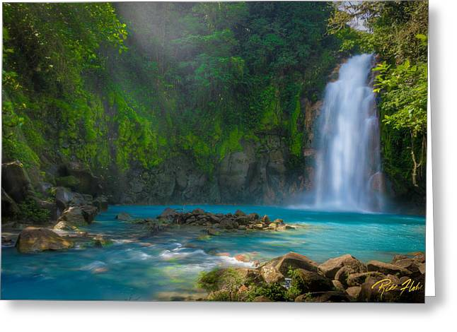 Blue Waterfall Greeting Card