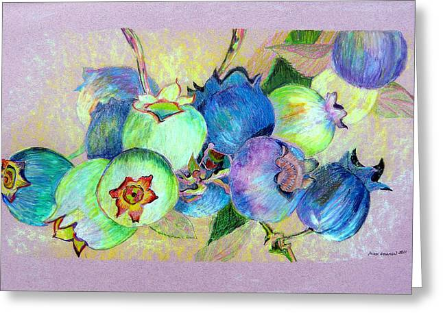 Blueberries Drawing Greeting Cards - Blueberries Greeting Card by Mindy Newman
