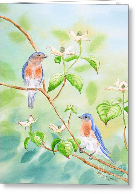 Bluebirds In Dogwood Tree Greeting Card by Kathryn Duncan