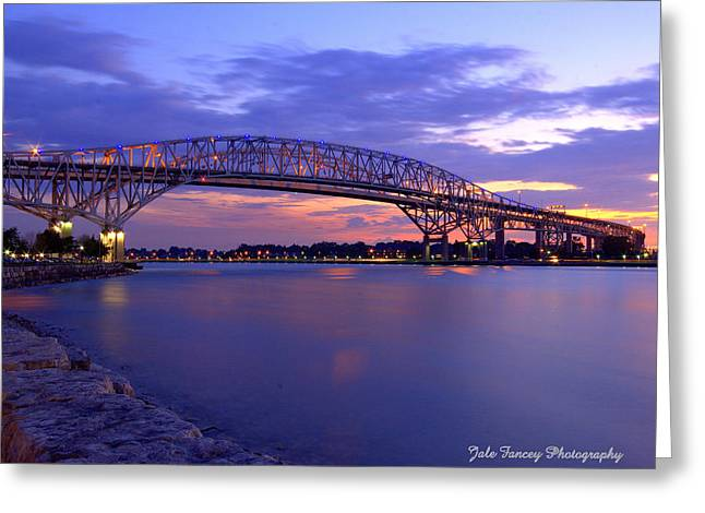 Bluewater Bridge At Sunset Greeting Card