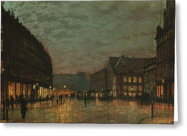 Boar Lane Leeds By Lamplight Greeting Card by John Atkinson Grimshaw