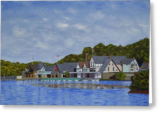 Boathouse Row Greeting Card by Michael Walsh