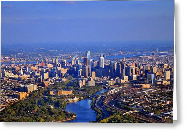 1 Boathouse Row Philadelphia Pa Skyline Aerial Photograph Greeting Card by Duncan Pearson
