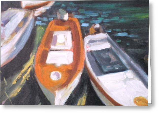 Boats Greeting Card by George Siaba