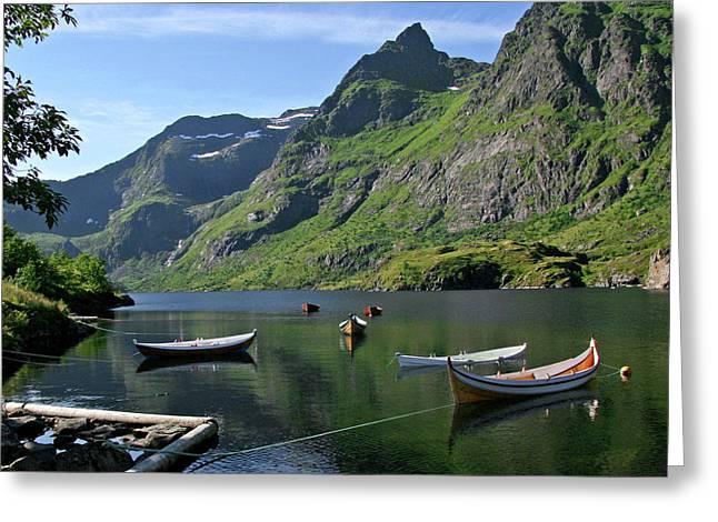 Boats In Lofoten Greeting Card by Helene Sobol