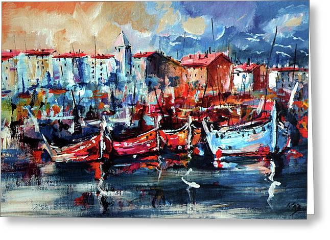 Boats Greeting Card by Kovacs Anna Brigitta