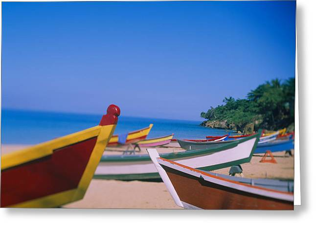 Boats On The Beach, Aguadilla, Puerto Greeting Card by Panoramic Images