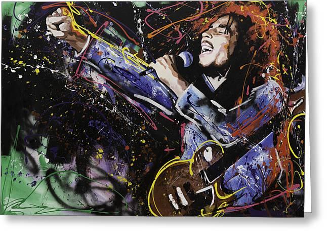 Bob Marley Greeting Card by Richard Day