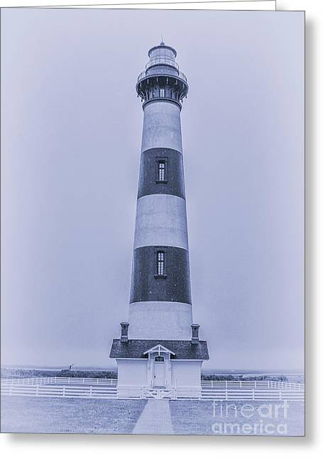 Bodie Island Lighthouse In Blue Greeting Card by Randy Steele