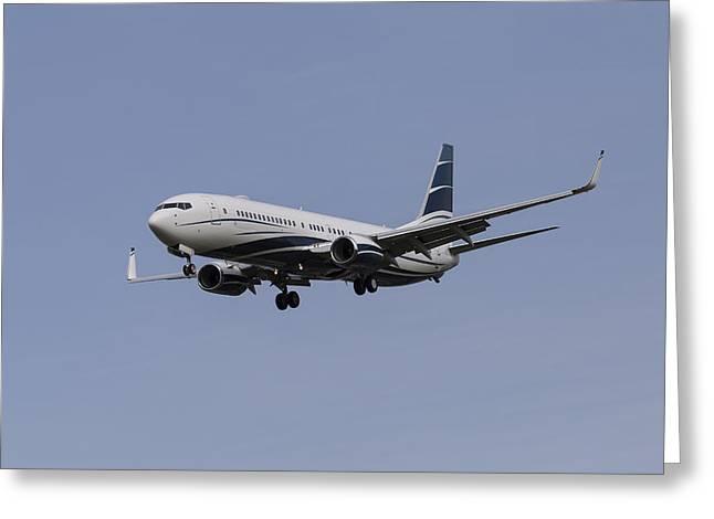 Boeing 737 Private Jet Greeting Card by David Pyatt