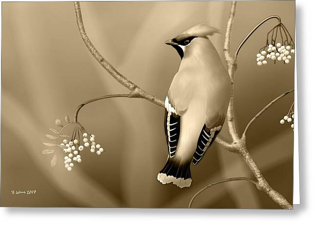 Greeting Card featuring the digital art Bohemian Waxwing In Sepia by John Wills